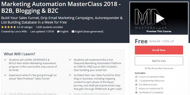 [100% Off] Marketing Automation MasterClass 2018 - B2B, Blogging & B2C|Worth 194,99$