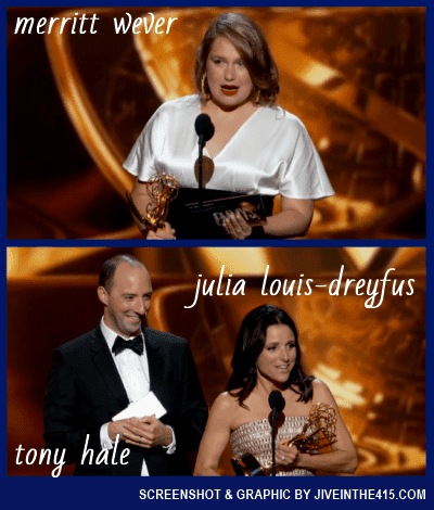 Emmy Award winners Merritt Wever, Tony Hale, and Julia Louis-Dreyfus.