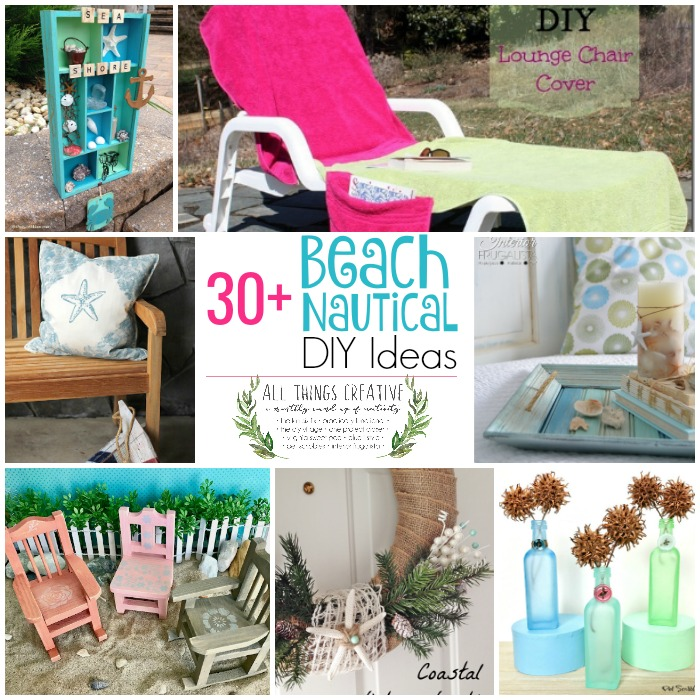 A fabulous curated collection of over thirty beach and nautical DIY ideas for summer by a group of talented bloggers in the All Things Creative Group.