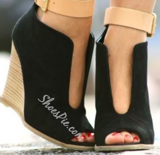 Shoespie Black Cut Out Wedge Heels