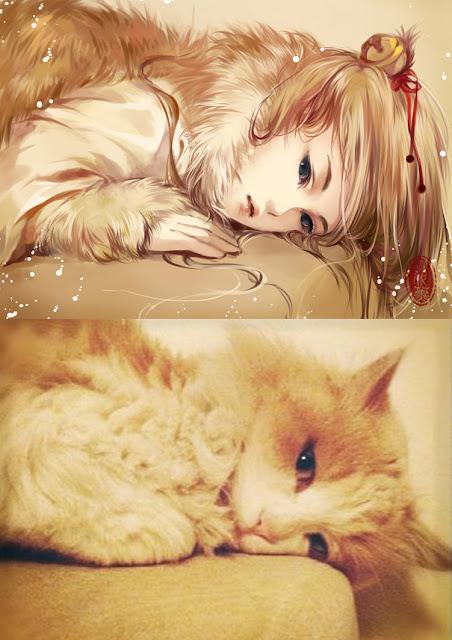 Kot narysowany jako kobieta z anime 01