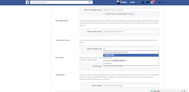 Facebook Blocking Settings events