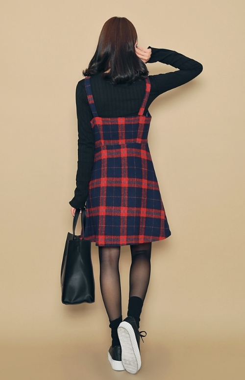 Checkered Button-Down A-Line Pinafore Dress