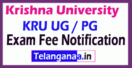 Krishna University KRU UG / PG Exam Fee Notification