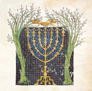 Two olive trees and menorah from the Jewish Cervera Bible