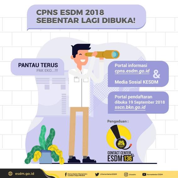 Buka Penerimaan CPNS 2018, Kementerian ESDM Prioritaskan Formasi Ini