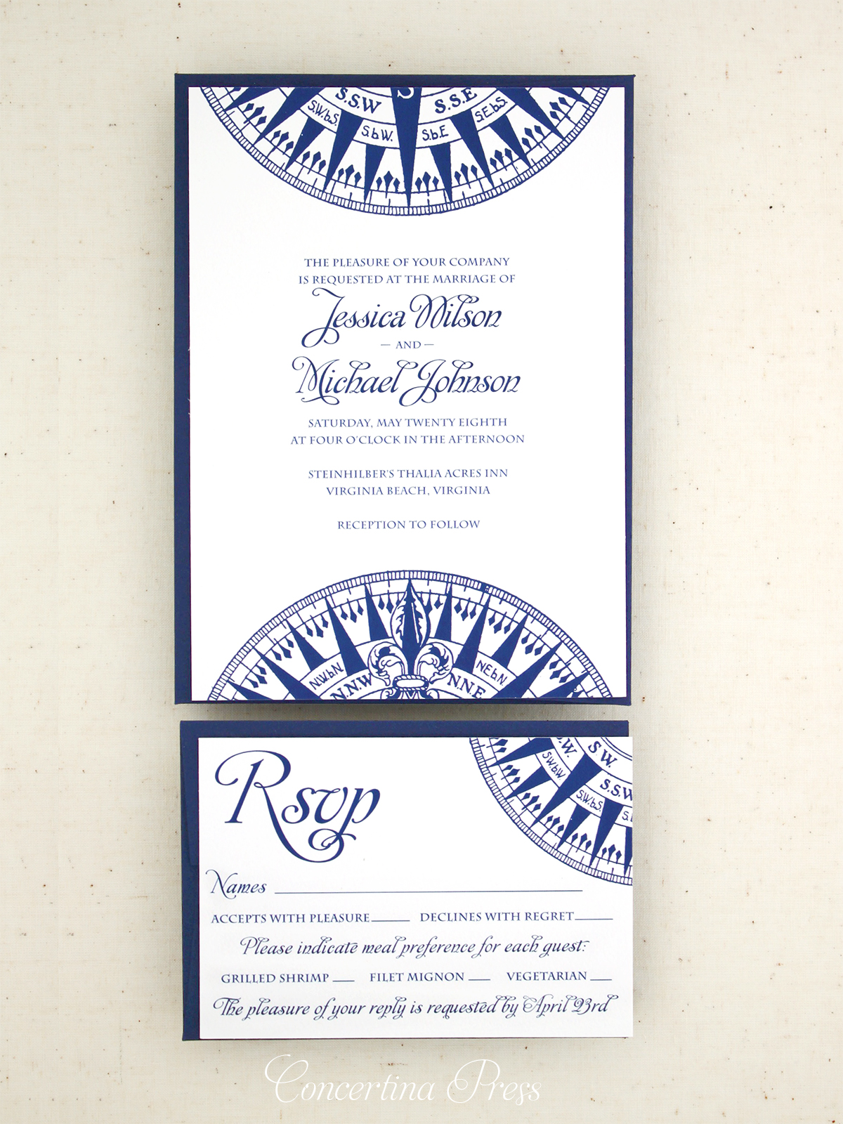 Nautical Compass Wedding Invitations from Concertina Press in Navy Blue and White