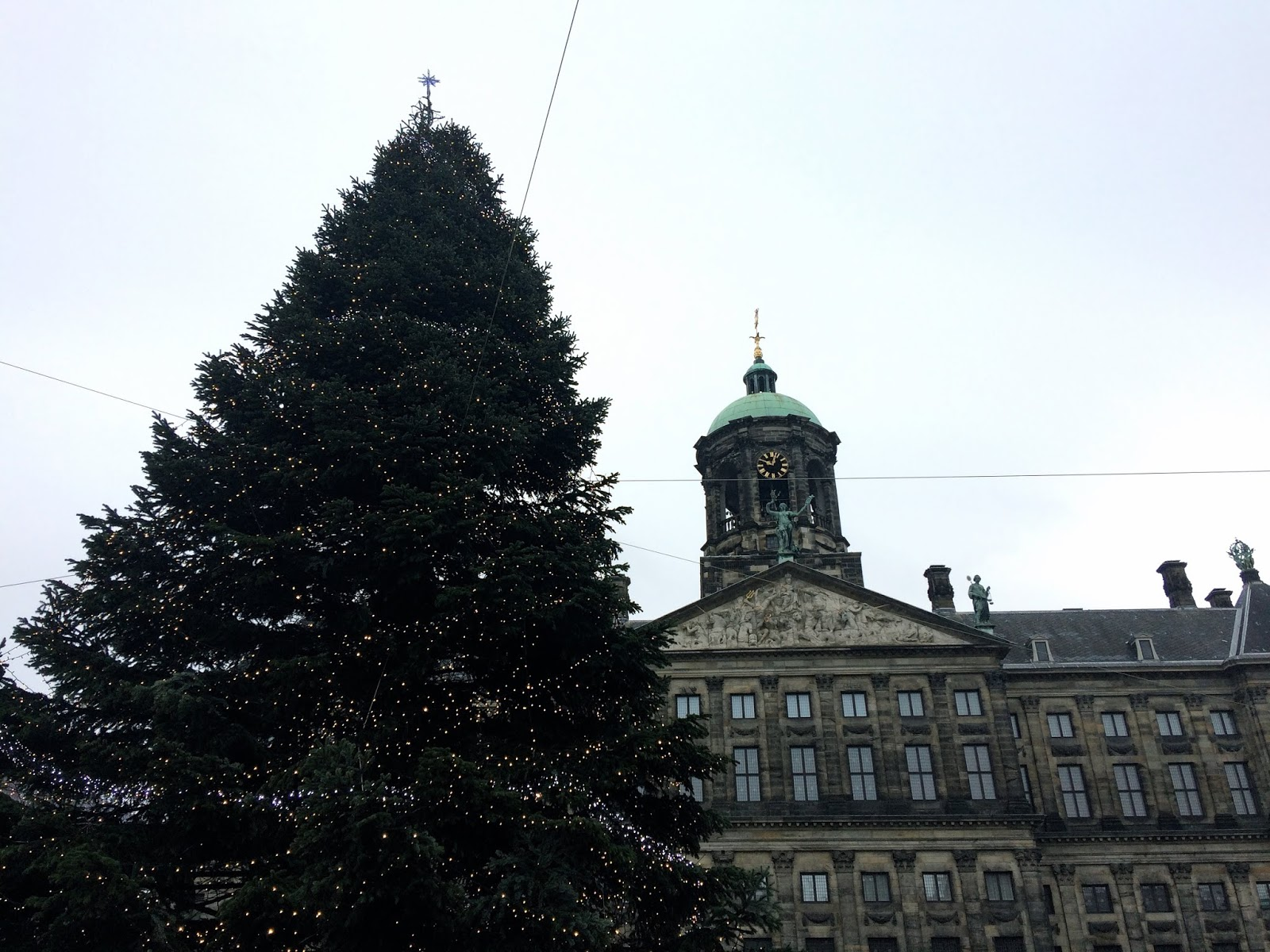 Huge Christmas tree in Amsterdam Dam Square