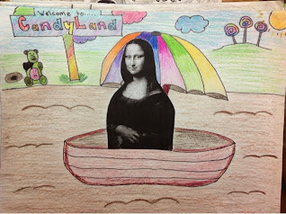 Student drawing of a funny Mona Lisa
