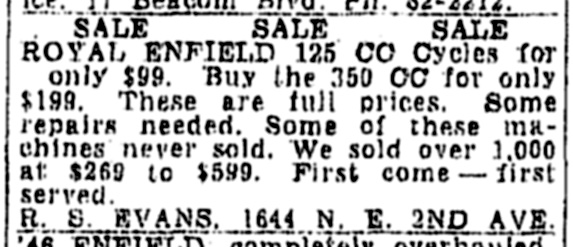 1948 classified ad for Royal Enfields.