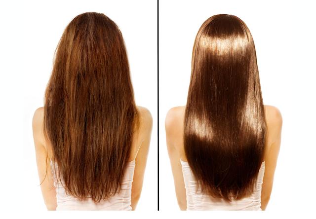 Mujer con el cabello antes y después de usar aceite de argán.