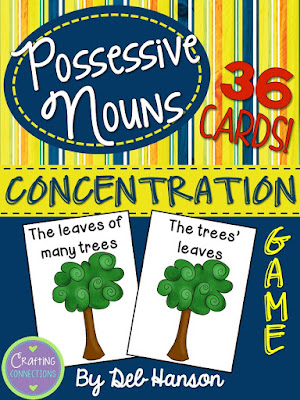 Possessive Noun Memory Game... FREE!  Plus, this blog post contains links to 5 other free printable grammar games!