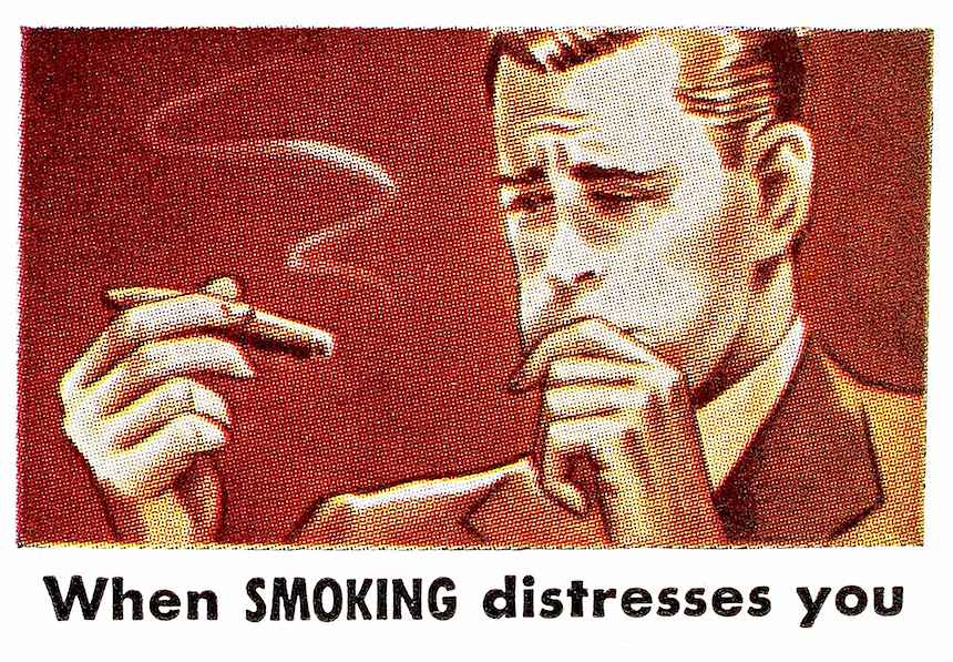 when smoking distresses you, cigar sick illustration