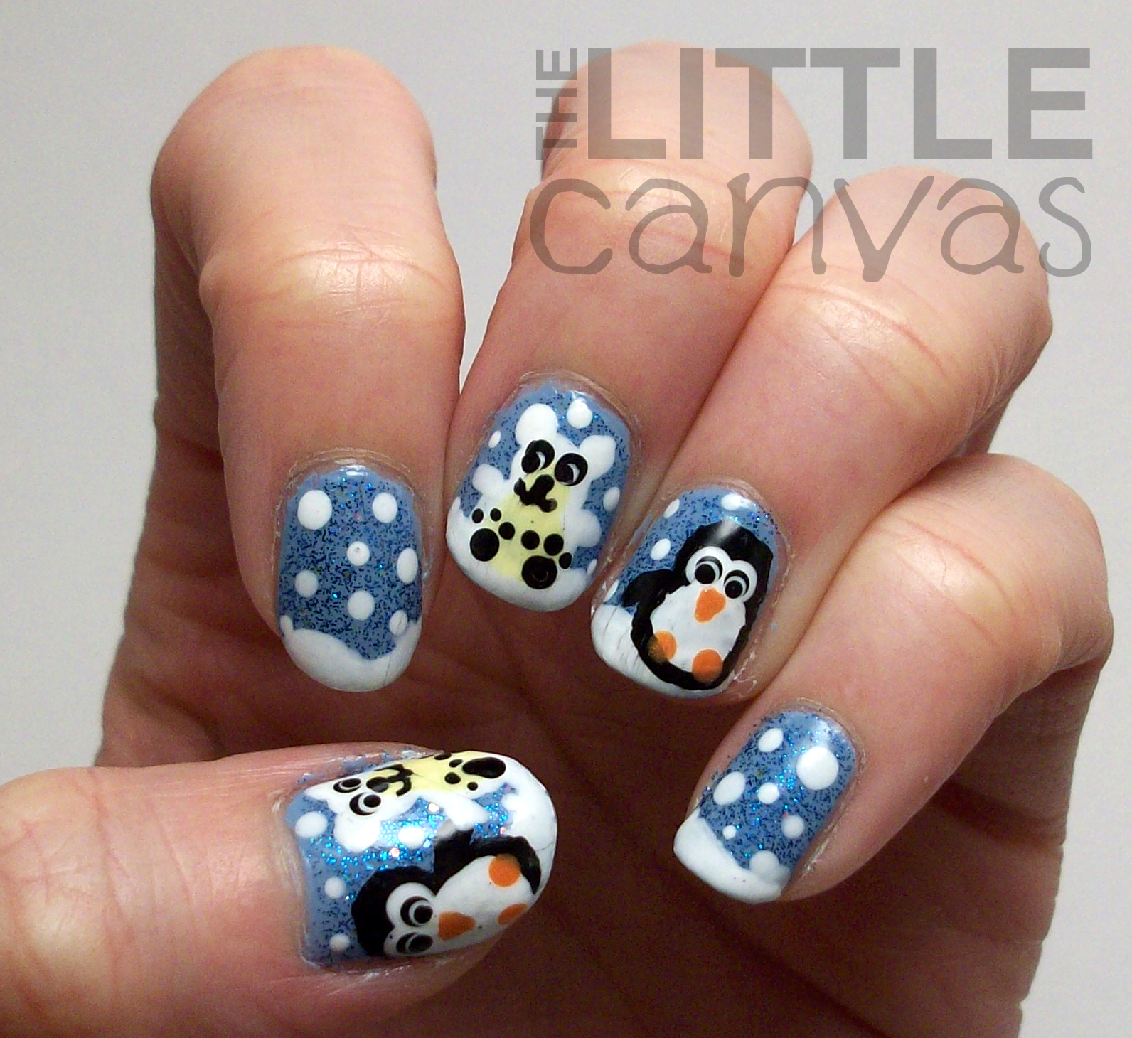 Polar Bear And Penguin Nail Art The Little Canvas