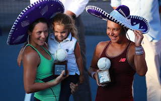 Smiling shyly under a sombrero, four-year-old Charlotte lit up the Mexican Open doubles final ceremony in sun-drenched Acapulco last weekend. And why not? Her mum, Tatjana Maria, had just won the tournament with Britain's Heather Watson, and her reward was Charlotte's tight cuddle as they posed for victory