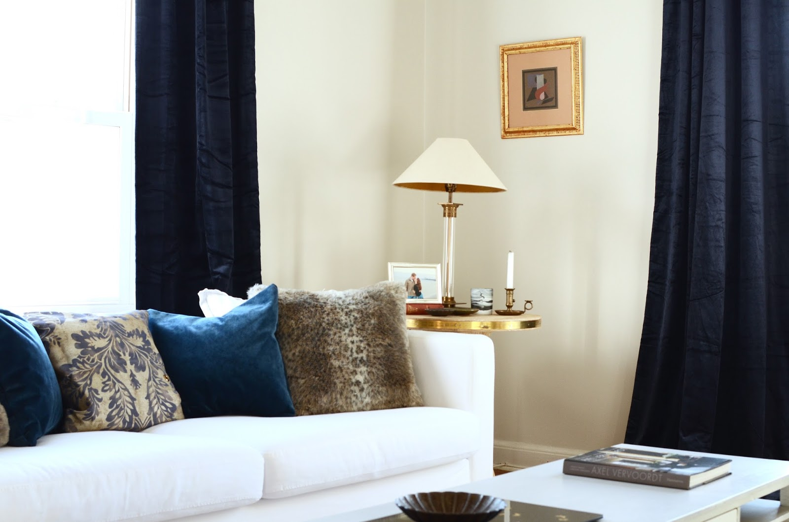 Navy blue curtains living room - Pottery Barn Shiny Velvet Curtains Navy Blue Review Photos
