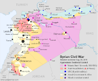 Map of the territorial control (Assad government, Islamic State/ISIS/ISIL, rebel, and Kurdish) in the Syrian Civil War as of August 2015