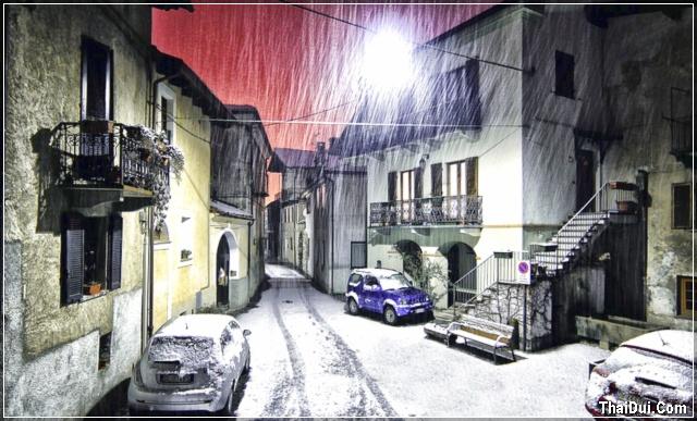ảnh khu cân cư phủ đầy tuyết trắng
