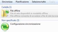 Centro di sincronizzazione file offline in rete con Windows 7