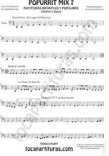 Popurrí Mix 7 Partitura de Tuba Elicón (o Bajo Metal) Campanitas del Lugar Dominó La Flauta de Bartolo Sinfonía Nº 7 Beethoven Popurrí Mix 7 Sheet Music for Tuba Music Scores