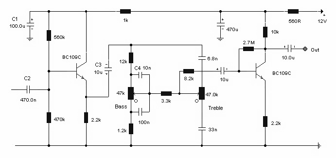 schematic of simple tone control circuit