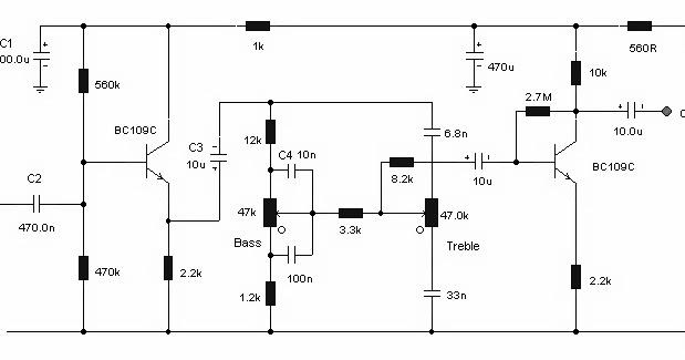 schematic of simple tone control circuit
