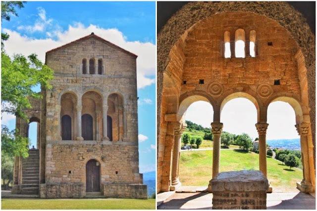 Prerrománico asturiano Santa María del Naranco en el Monte Naranco en Oviedo - Miradores con arcos