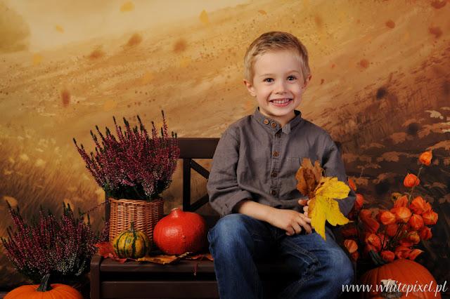 piękne wrzosy i dynie na sesji jesiennej  w studio , uśmiechnięty mały chłopiec trzyma w dłoniach liście