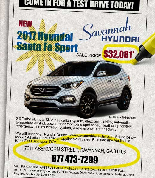 2017 Hyundai Santa Fe Sport, Savannah Hyundai, Savannah GA, Georgia Hyundai Dealership