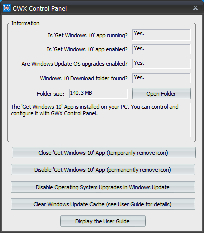 Disable windows 10 auto upgrade and remove GWX icon from taskbar using GWX Control Panel tool