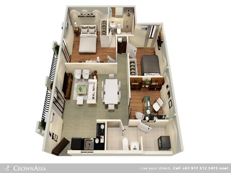 Floor Plan of Valenza Mansions - Two Bedroom With Office Space Citisuite | Two Bedroom with Office Space CitiSuite Condominium Unit for Sale Sta. Rosa Laguna