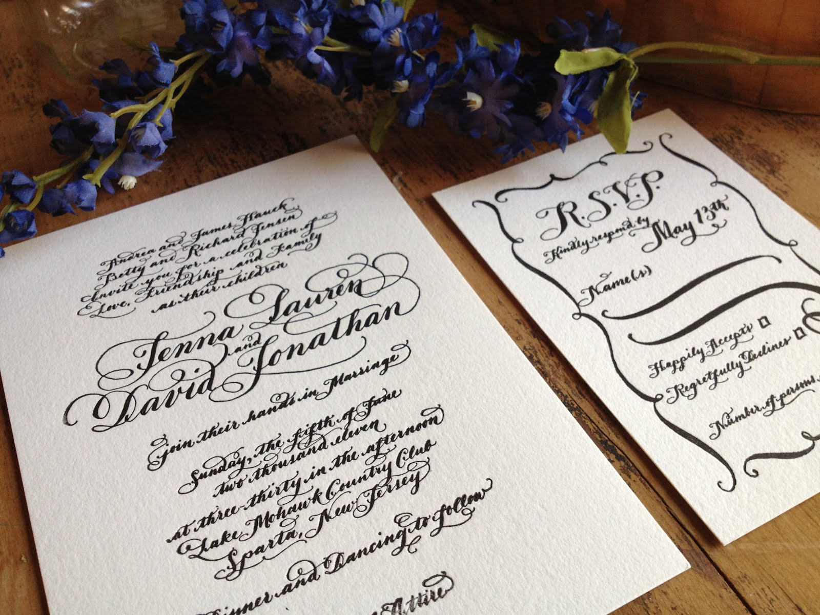 Jenna S Calligraphy Letterpress Wedding Invitations