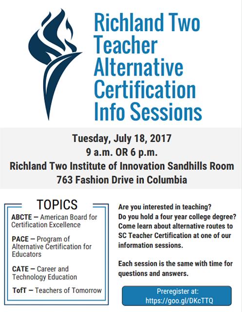 Viking Update: Richland Two Teacher Alternative Certification ...