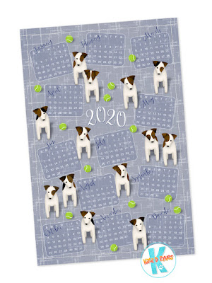 Jack Russells with tennis balls 2020 calendar tea towel