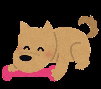 おもちゃと遊ぶ犬のイラスト