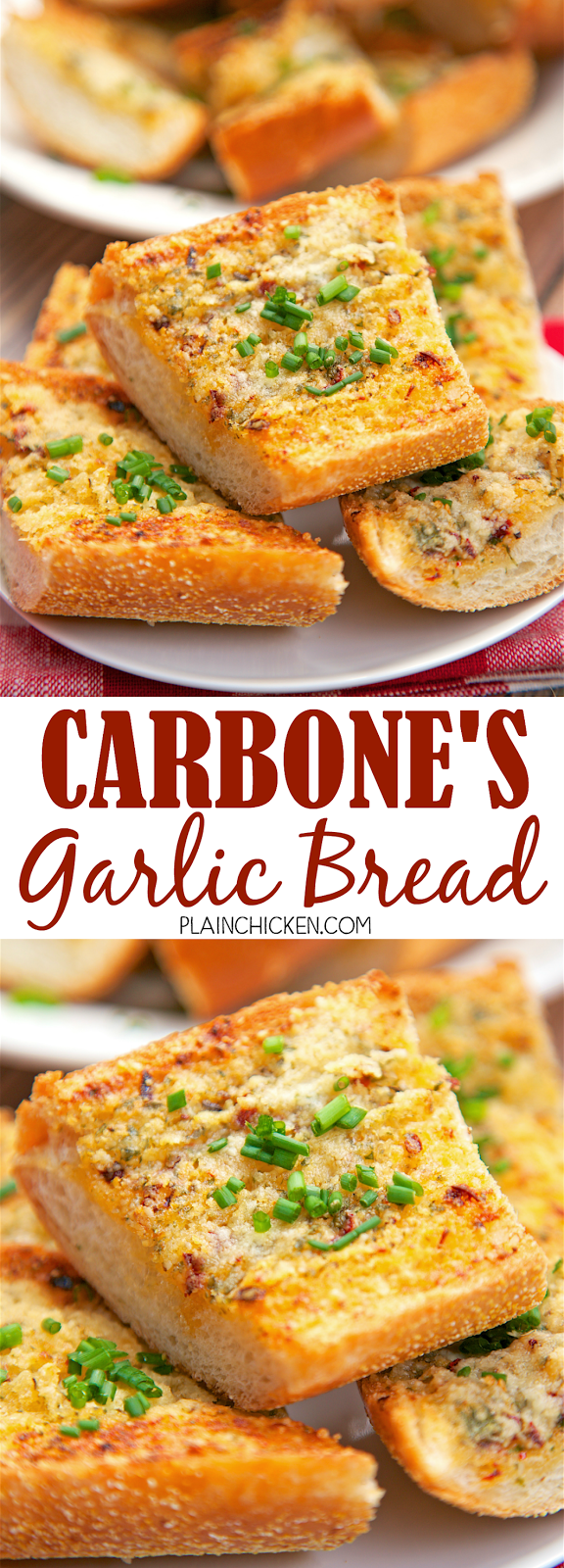 Carbone's Garlic Bread - recipe for the garlic bread from the famous NYC and Vegas restaurant. BEST garlic bread ever! Crispy, cheesy and a little spicy! You can make this ahead of time and refrigerate it until you are ready to bake the bread. I like to bake one half and save the other half for the next day.