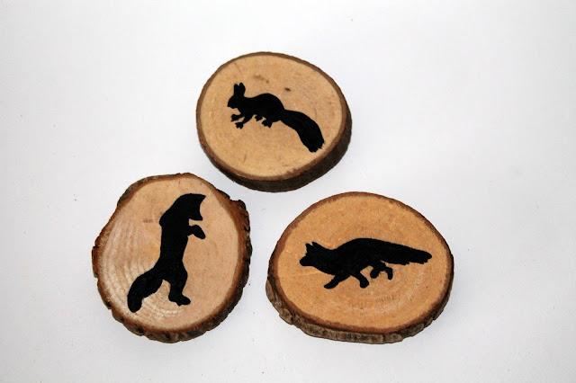 DIY, Basteln: Astscheiben Magnete Fuchs und Eichhörnchen in Herbstdekoration - DIYCarinchen