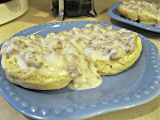 Gluten Free biscuits and gravy made with Full Flavor Foods gluten-free cream sauce mix