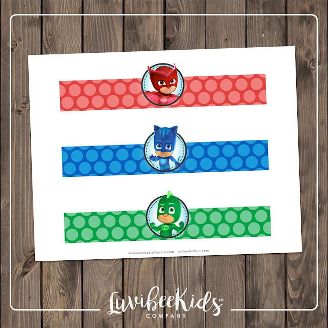 Luvibee Kids Company PJ Masks Water Bottle Labels Free Printable