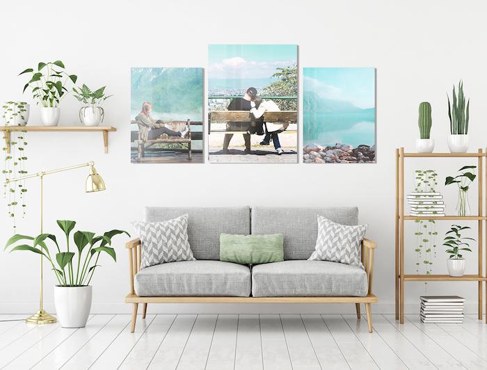 Dormitorio con composición de cuadros