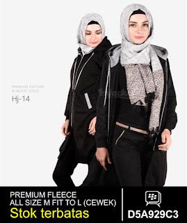 jaket muslimah panjang lutut hitam