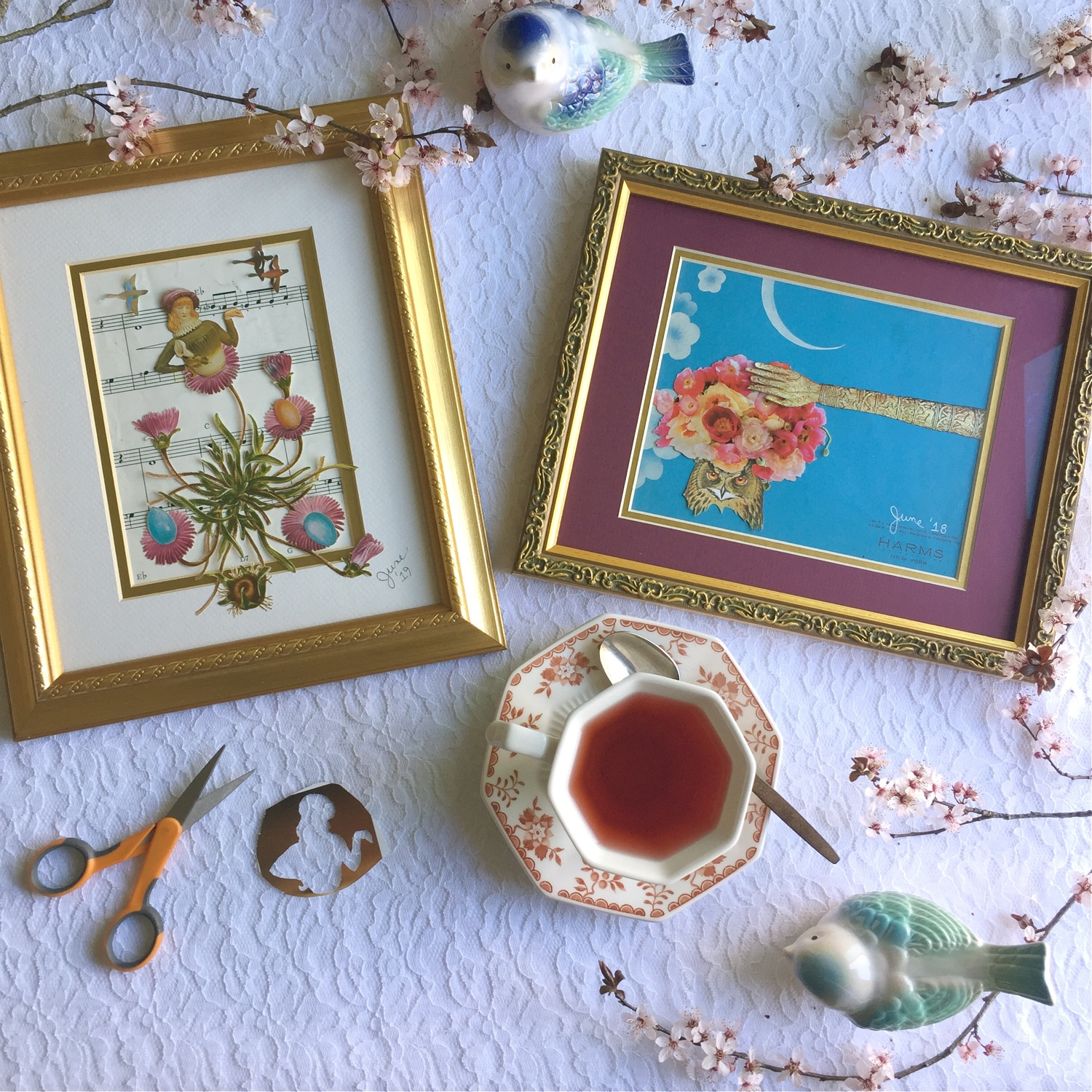 World Collage Day, World Collage Day 2019, collage making, paper collage, Mrs. Grosvenor Contemplates the Evolution of Her Next Tea Party and Owl #1 by June Anderson of Under The Plum Blossom Tree blog