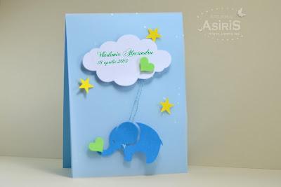 Invitatii de botez handmade cu elemente decupate din carton, elefantel agatat de nor. stele colorate si inima