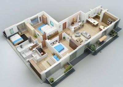 Denah Rumah 3 Kamar Tidur Minimalis Terbaru