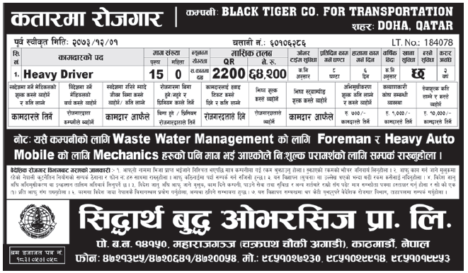 Jobs in Qatar for Nepali, Salary Rs 64,200