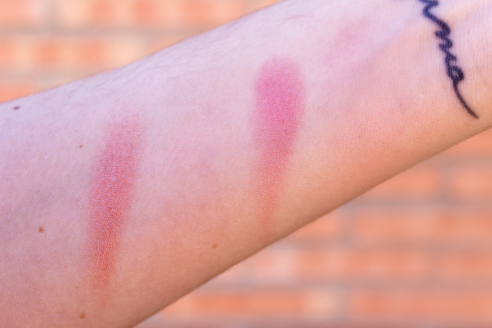 Kiko Cocoa Shock Duo Blush in Sweet Coral and Apricot swatches