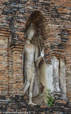 Wat Mahathat, Sukhothai - Tower near main chedi, standing Buddha