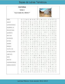 La caza del mamut Sopa de letras gratis Historia