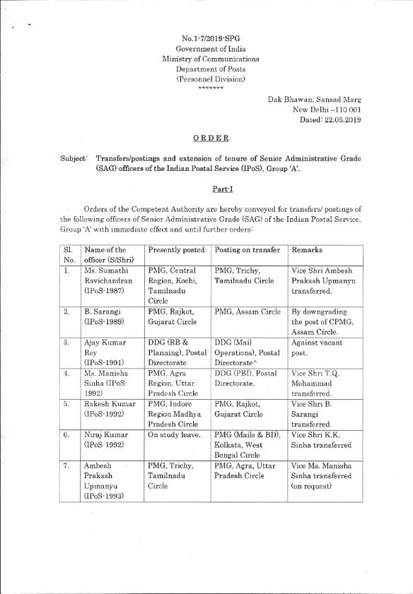 transfer postings in department of posts