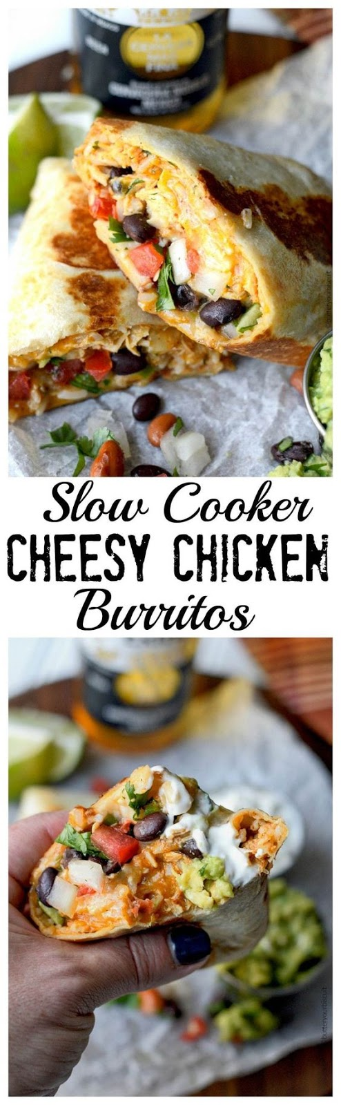 SLOW COOKER CHEESY CHICKEN BURRITOS